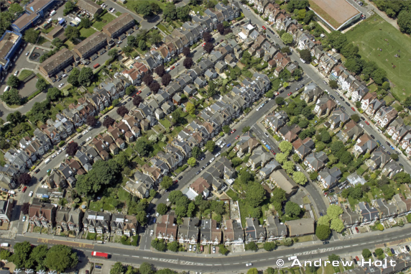 Oblique High Level Aerial View Down Of Deerbrook Road Area Tulse Hill With Suburbs And