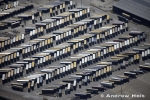 Aerial Photography Photograph Of Abstract Container Trucks In Lorry Park
