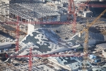Aerial photography of Westfield White City building construction site, Hammersmith, London W6