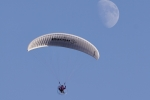 Aerial Photography Paraglider Pilot Flying Paramotor Against Blue Sky With Moon Andrew Holt Aerial Photography Photograph