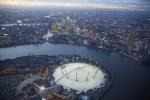 O2 millenium dome canary wharf docklands dusk twilight night city of london