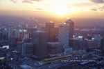 canary wharf city skyscrapers in docklands sunset at dusk london england