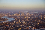 sunset canary wharf docklands river thames SE london city airport sunset the shard river thames london dusk
