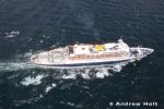 Aerial Photography Cruise Ship Liner Sailing At Sea