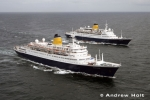 Aerial Photography Cruise Ship Liners Sailing At Sea