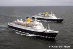 Aerial Photography Cruise Ship Liners Sailing At Sea