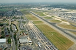 Aerial Photography Heathrow Airport Runway Aircraft And Terminal 3 London